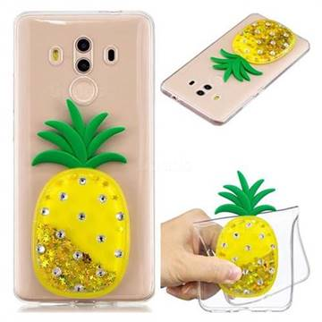 Gold Pineapple Liquid Quicksand Soft 3D Cartoon Case for Huawei Mate 10 Pro(6.0 inch)