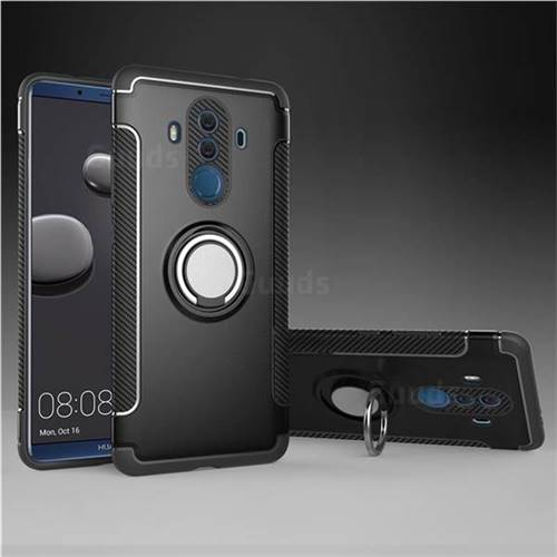 Armor Anti Drop Carbon PC + Silicon Invisible Ring Holder Phone Case for Huawei Mate 10 Pro(6.0 inch) - Black