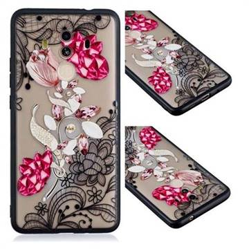Tulip Lace Diamond Flower Soft TPU Back Cover for Huawei Mate 10 Pro(6.0 inch)
