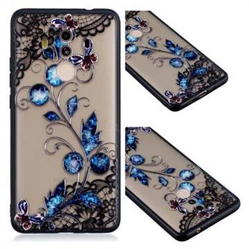 Butterfly Lace Diamond Flower Soft TPU Back Cover for Huawei Mate 10 Pro(6.0 inch)
