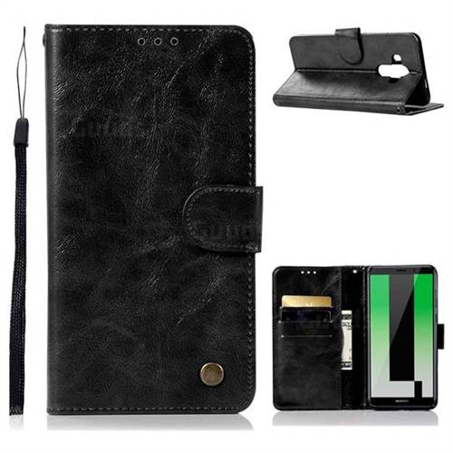 Luxury Retro Leather Wallet Case for Huawei Mate 10 Pro(6.0 inch) - Black