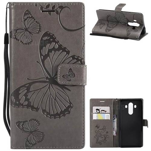 Embossing 3D Butterfly Leather Wallet Case for Huawei Mate 10 Pro(6.0 inch) - Gray