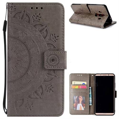 Intricate Embossing Datura Leather Wallet Case for Huawei Mate 10 Pro(6.0 inch) - Gray