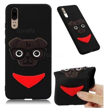 Glasses Dog Soft 3D Silicone Case for Huawei Mate 20 - Black