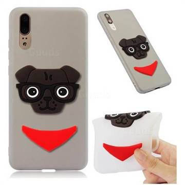 Glasses Dog Soft 3D Silicone Case for Huawei Mate 20 - Translucent White