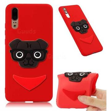 Glasses Dog Soft 3D Silicone Case for Huawei Mate 20 - Red