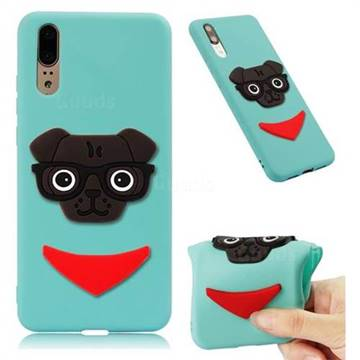 Glasses Dog Soft 3D Silicone Case for Huawei Mate 20 - Sky Blue
