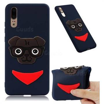 Glasses Dog Soft 3D Silicone Case for Huawei Mate 20 - Navy
