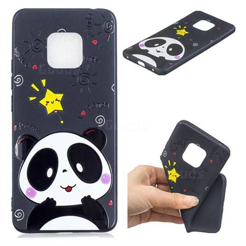 Cute Bear 3D Embossed Relief Black TPU Cell Phone Back Cover for Huawei Mate 20
