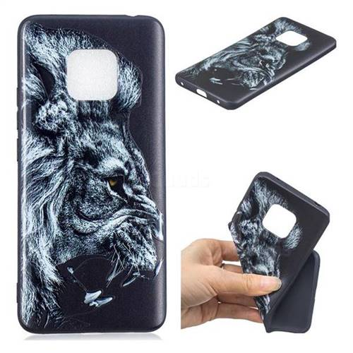 Lion 3D Embossed Relief Black TPU Cell Phone Back Cover for Huawei Mate 20