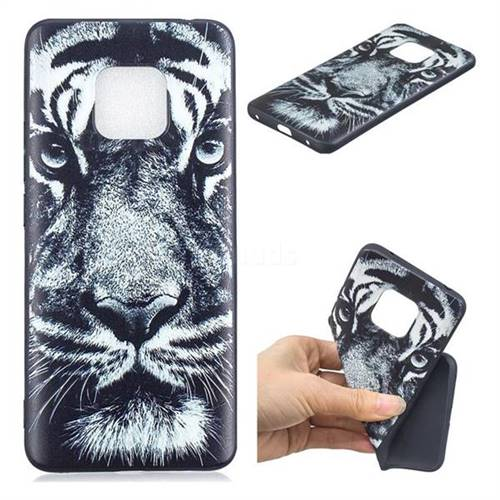 White Tiger 3D Embossed Relief Black TPU Cell Phone Back Cover for Huawei Mate 20
