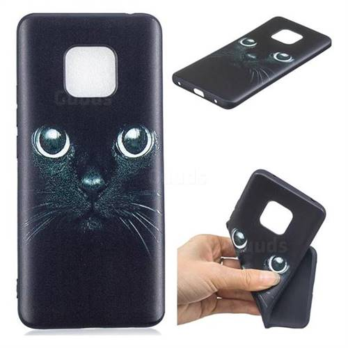 Bearded Feline 3D Embossed Relief Black TPU Cell Phone Back Cover for Huawei Mate 20