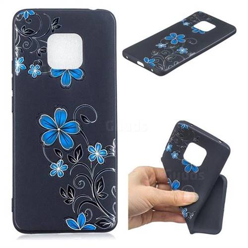 Little Blue Flowers 3D Embossed Relief Black TPU Cell Phone Back Cover for Huawei Mate 20