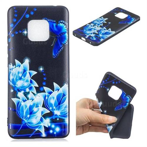 Blue Butterfly 3D Embossed Relief Black TPU Cell Phone Back Cover for Huawei Mate 20