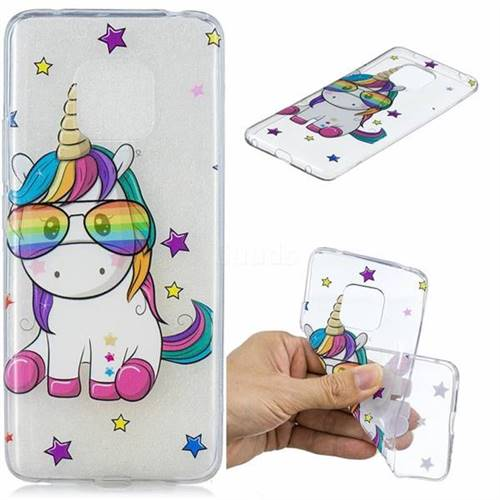Glasses Unicorn Clear Varnish Soft Phone Back Cover for Huawei Mate 20