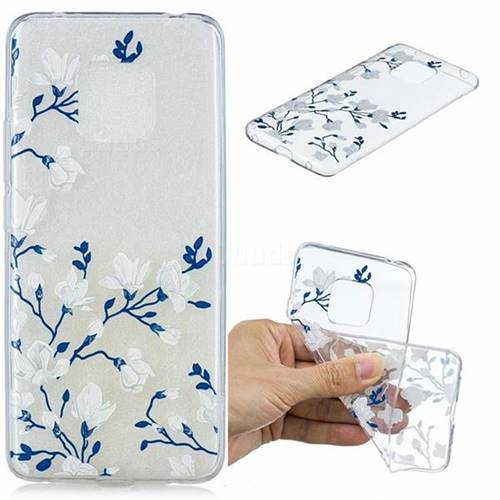 Magnolia Flower Clear Varnish Soft Phone Back Cover for Huawei Mate 20