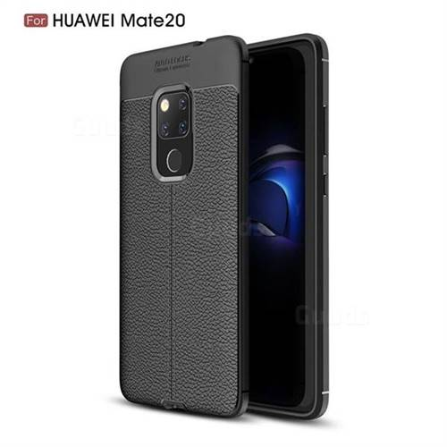 Luxury Auto Focus Litchi Texture Silicone TPU Back Cover for Huawei Mate 20 - Black