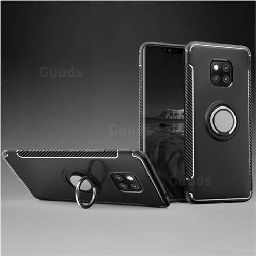 Armor Anti Drop Carbon PC + Silicon Invisible Ring Holder Phone Case for Huawei Mate 20 - Black