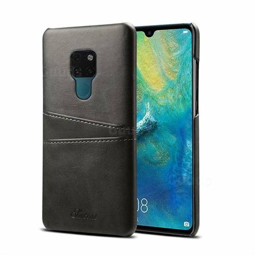 Suteni Retro Classic Card Slots Calf Leather Coated Back Cover for Huawei Mate 20 - Black