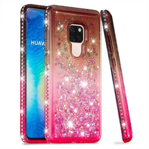 Diamond Frame Liquid Glitter Quicksand Sequins Phone Case for Huawei Mate 20 - Gray Pink