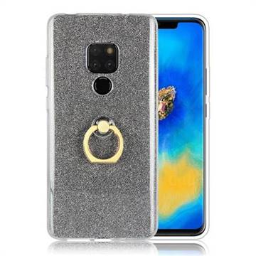 Luxury Soft TPU Glitter Back Ring Cover with 360 Rotate Finger Holder Buckle for Huawei Mate 20 - Black