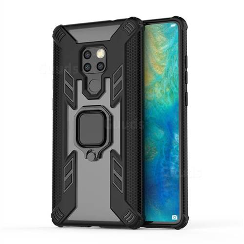 Predator Armor Metal Ring Grip Shockproof Dual Layer Rugged Hard Cover for Huawei Mate 20 - Black