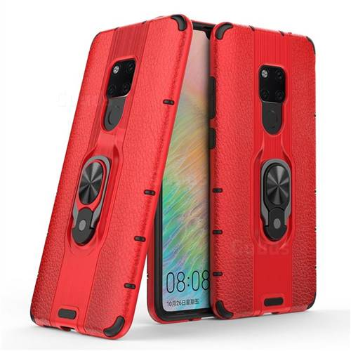 Alita Battle Angel Armor Metal Ring Grip Shockproof Dual Layer Rugged Hard Cover for Huawei Mate 20 - Red