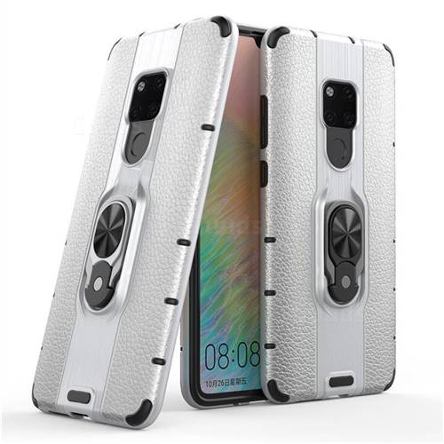 Alita Battle Angel Armor Metal Ring Grip Shockproof Dual Layer Rugged Hard Cover for Huawei Mate 20 - Silver
