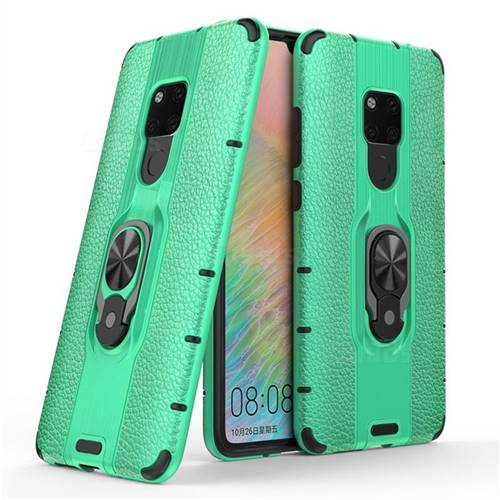 Alita Battle Angel Armor Metal Ring Grip Shockproof Dual Layer Rugged Hard Cover for Huawei Mate 20 - Green