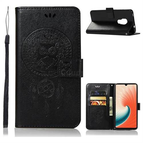 Intricate Embossing Owl Campanula Leather Wallet Case for Huawei Mate 20 - Black