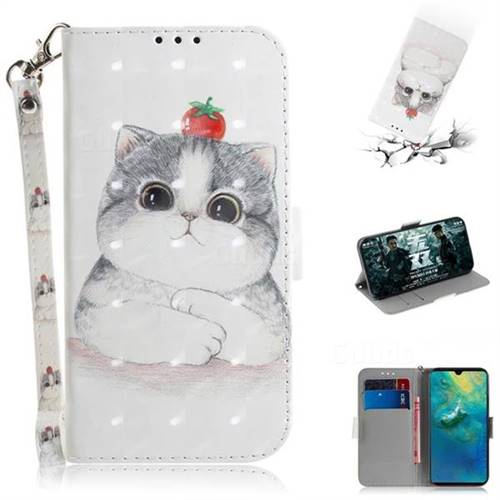 Cute Tomato Cat 3D Painted Leather Wallet Phone Case for Huawei Mate 20