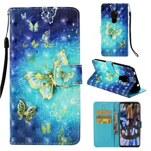Gold Butterfly 3D Painted Leather Wallet Case for Huawei Mate 20
