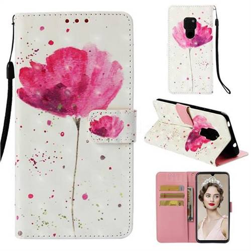 Watercolor 3D Painted Leather Wallet Case for Huawei Mate 20