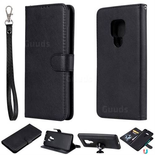 Retro Greek Detachable Magnetic PU Leather Wallet Phone Case for Huawei Mate 20 - Black