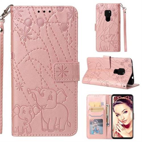 Embossing Fireworks Elephant Leather Wallet Case for Huawei Mate 20 - Rose Gold