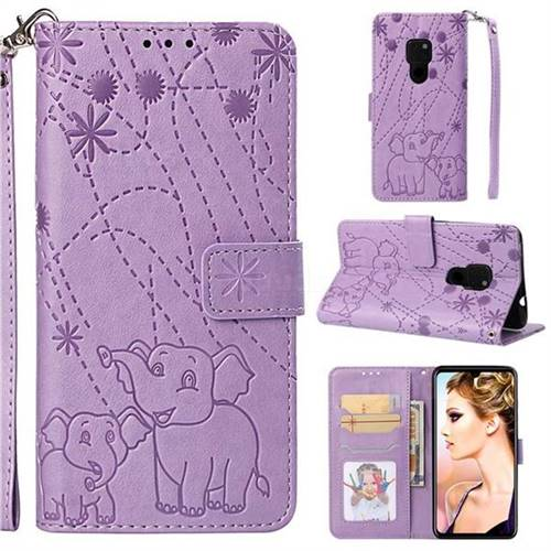 Embossing Fireworks Elephant Leather Wallet Case for Huawei Mate 20 - Purple