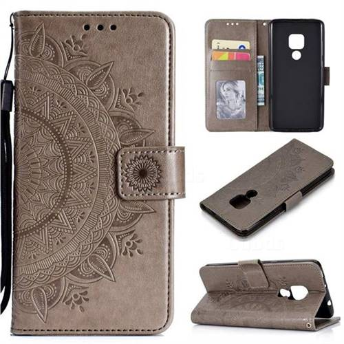 Intricate Embossing Datura Leather Wallet Case for Huawei Mate 20 - Gray