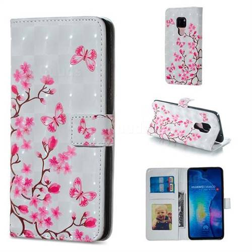 Butterfly Sakura Flower 3D Painted Leather Phone Wallet Case for Huawei Mate 20