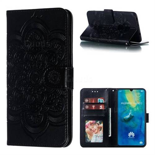 Intricate Embossing Datura Solar Leather Wallet Case for Huawei Mate 20 - Black