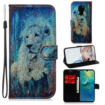 White Lion Laser Shining Leather Wallet Phone Case for Huawei Mate 20
