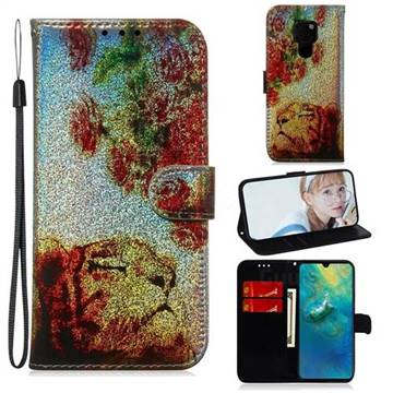 Tiger Rose Laser Shining Leather Wallet Phone Case for Huawei Mate 20