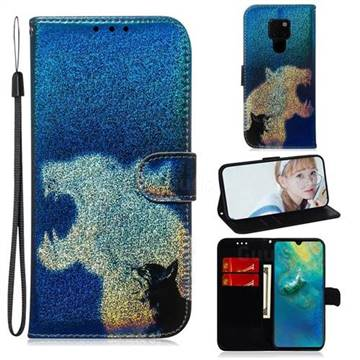 Cat and Leopard Laser Shining Leather Wallet Phone Case for Huawei Mate 20