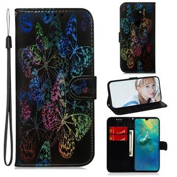 Black Butterfly Laser Shining Leather Wallet Phone Case for Huawei Mate 20