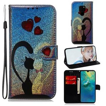 Love Cat Laser Shining Leather Wallet Phone Case for Huawei Mate 20