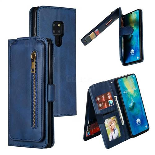 Multifunction 9 Cards Leather Zipper Wallet Phone Case for Huawei Mate 20 - Blue