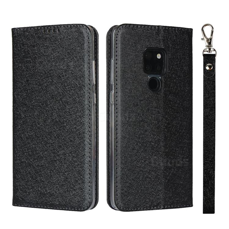 Ultra Slim Magnetic Automatic Suction Silk Lanyard Leather Flip Cover for Huawei Mate 20 - Black