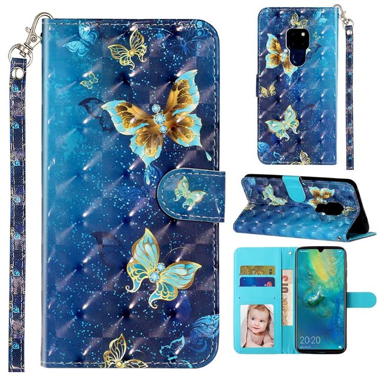 Rankine Butterfly 3D Leather Phone Holster Wallet Case for Huawei Mate 20