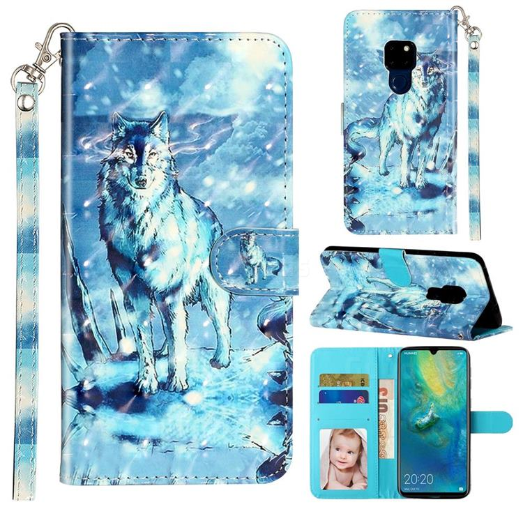 Snow Wolf 3D Leather Phone Holster Wallet Case for Huawei Mate 20