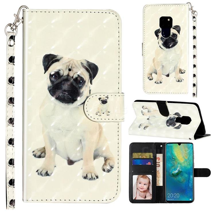 Pug Dog 3D Leather Phone Holster Wallet Case for Huawei Mate 20