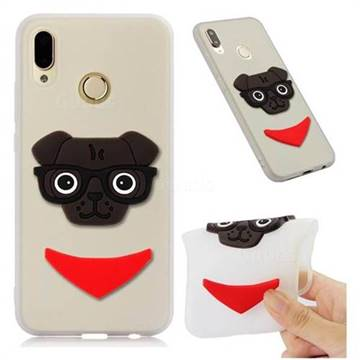 Glasses Dog Soft 3D Silicone Case for Huawei Mate 20 Lite - Translucent White